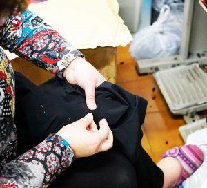 Colocacion de la badana despues de haber sido medida y equilibrada en el culote nacca